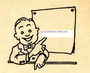 Happy businessman pointing at blank chart